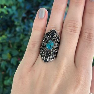 Sterling Silver Turquoise Filigree Shield Ring
